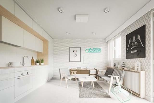 Ngôi nhà nhỏ đẹp 20m2 này trở nên thông thoáng, rộng rãi hơn nhờ thiết kế nội thất tối gian
