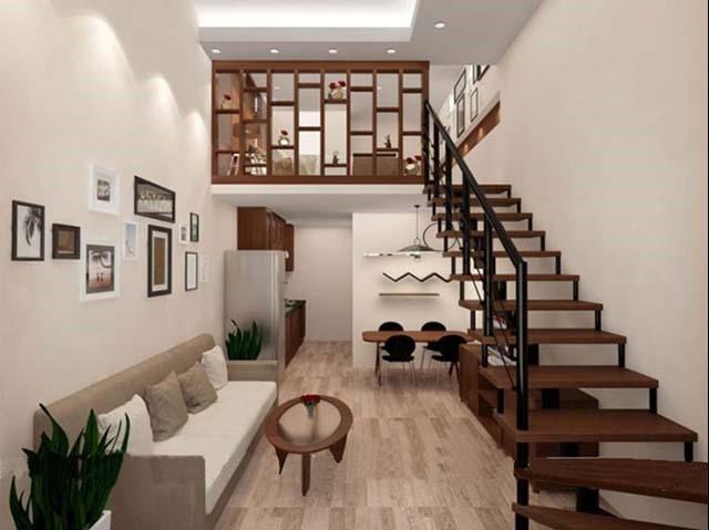 Nội thất đồ gỗ khiến không gian căn phòng ấm cúng, tiện nghi hơn. Thiết kế gác lửng thông minh tạo cảm giác thoáng rộng, tiết kiệm diện tích sử dụng.