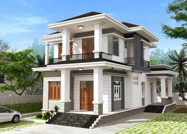 Mẫu nhà vuông thiết kế 1 cửa chính và 1 cửa phụ giúp ngôi nhà thông thoáng, tiện dụng.