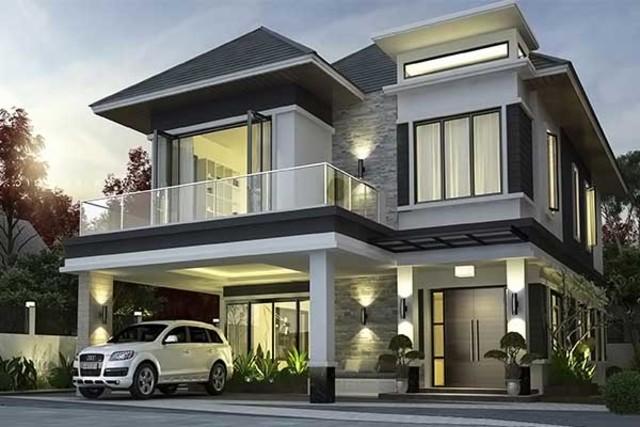 Thiết kế nhà vuông dạng biệt thự 2 tầng có 3 phòng ngủ rộng rãi, tông màu tối sang trọng.