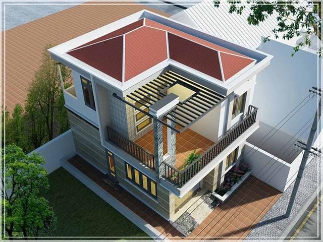 Mẫu nhà vuông thiết kế hiện đại và gần gũi với thiên nhiên.