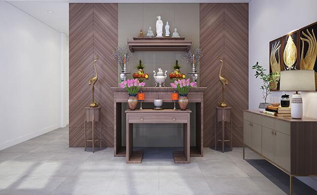 Phòng thờ sử dụng chất liệu gỗ và gam màu trầm làm nổi bật lên sự tôn nghiêm của nơi thờ cúng