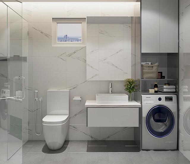 Bên cạnh bồn rửa tay có đặt thêm tủ nhỏ tăng tiện ích lưu trữ đồ đạc