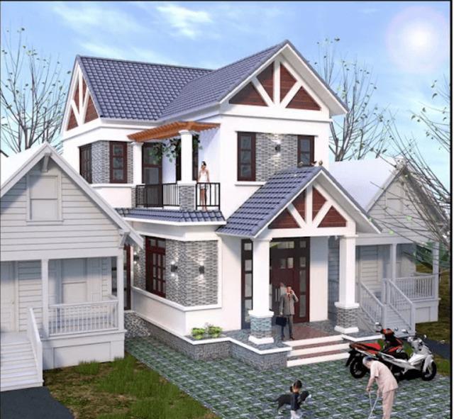 mẫu nhà phố mái ngói 11