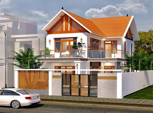 mẫu nhà phố mái ngói 2