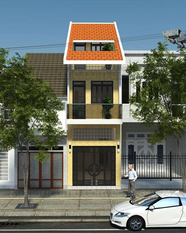 mẫu nhà phố mái ngói 3