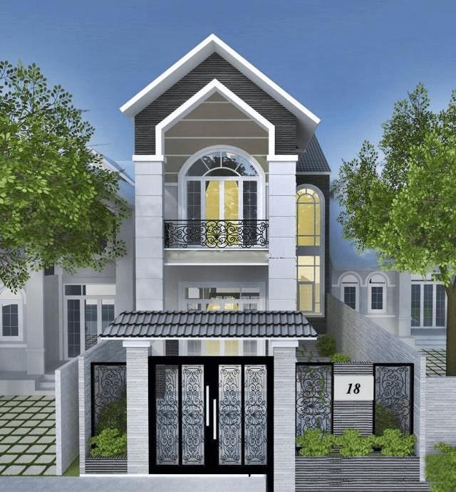 mẫu nhà phố mái ngói 9