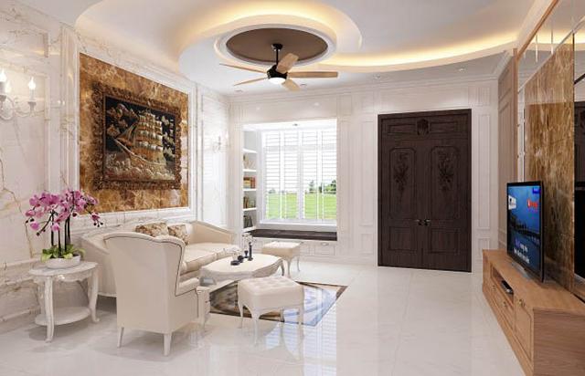 Mẫu thiết kế nội thất nhà phố 5m x 20m mang phong cách tân cổ điển 2