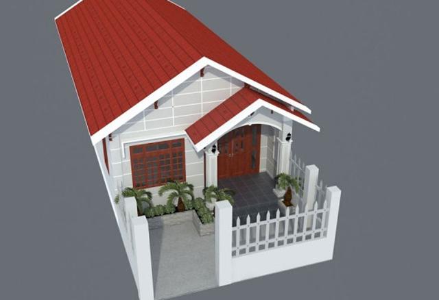 Nhà cấp 4 có gác lửng mái tôn 2 phòng ngủ