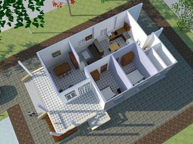 Nhà cấp 4 mái thái 5x20 2