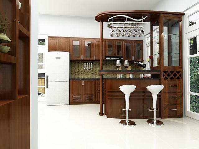 nhà bếp đẹp có quầy bar