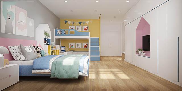 Phòng ngủ cho các con được xây dựng trên tone nền xám ghi kết hợp cùng đồ nội thất cơ bản, bắt mắt