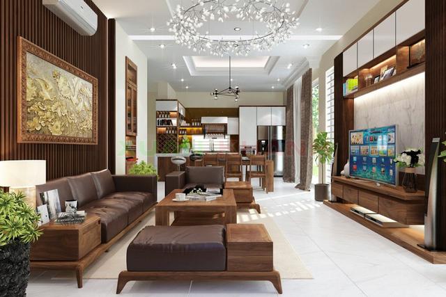 Gỗ ốp tường giúp không gian phòng khách sang trọng