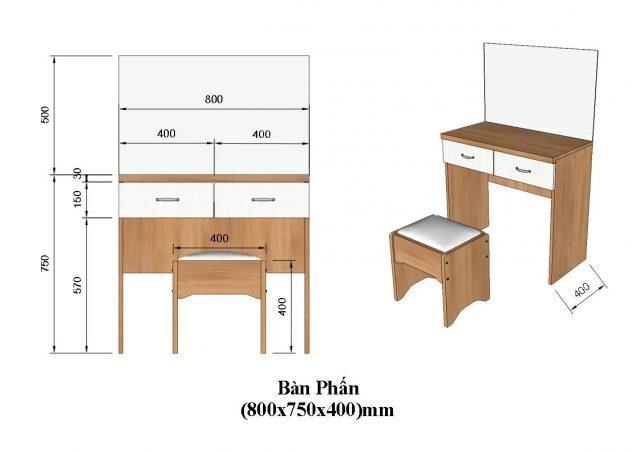 Kích thước bàn trang điểm chuẩn 2