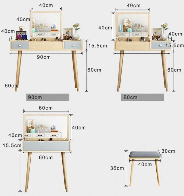 Kích thước bàn trang điểm thông dụng 2
