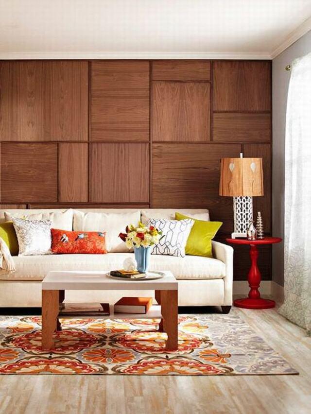 mẫu gỗ ốp tường phòng khách 10