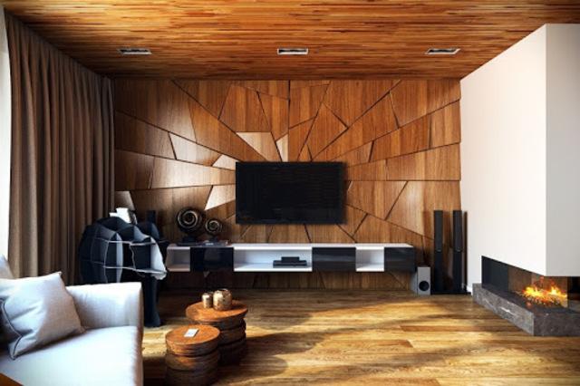 mẫu gỗ ốp tường phòng khách 11