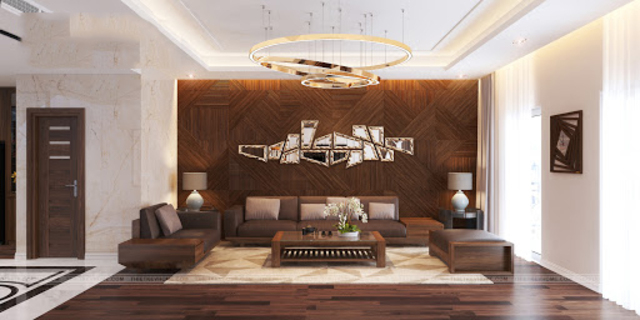mẫu gỗ ốp tường phòng khách 14