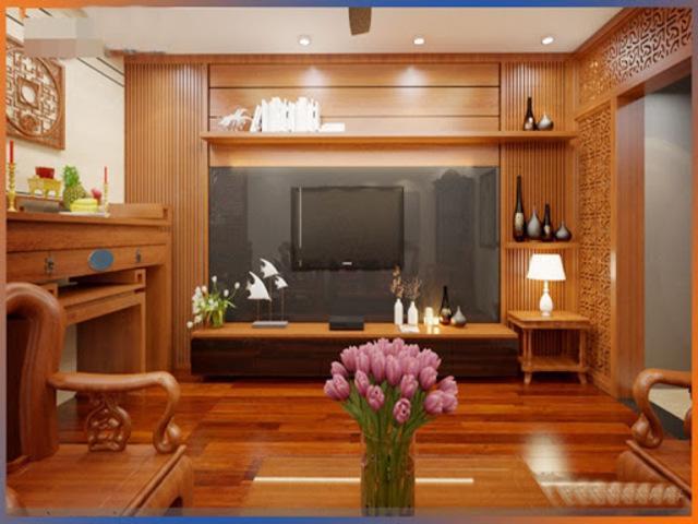 mẫu gỗ ốp tường phòng khách 7