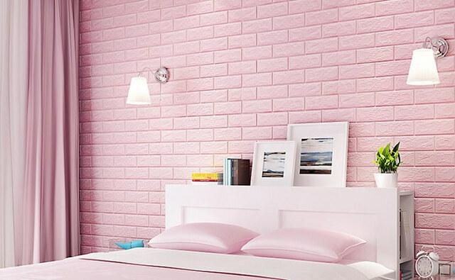 Trang trí phòng ngủ bằng giấy dán tường, xốp dán tường