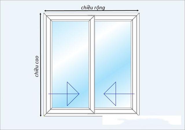 Kích thước cửa sổ 2 cánh