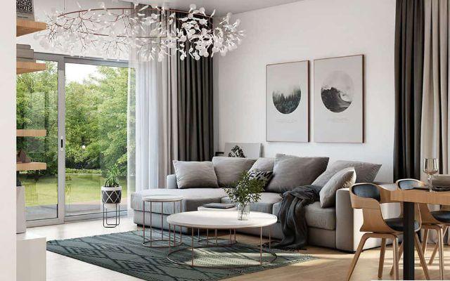 mẫu nội thất đỗ sồi phòng khách 1
