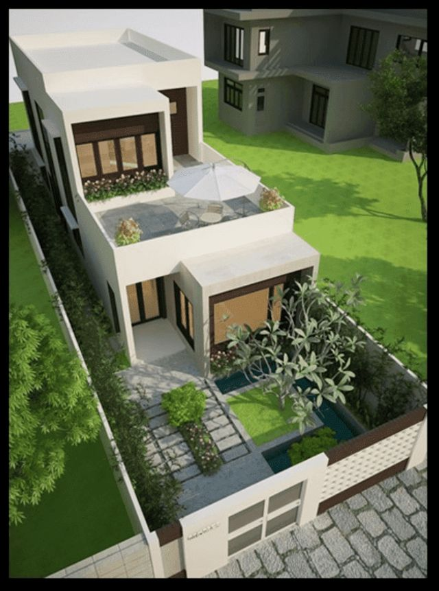 Mẫu thiết kế nhà ống 2 tầng đẹp mặt tiền 5x15m kèm sân vườn 5m