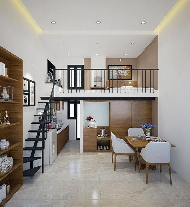Thiết kế nhà nhỏ đẹp có gác lửng