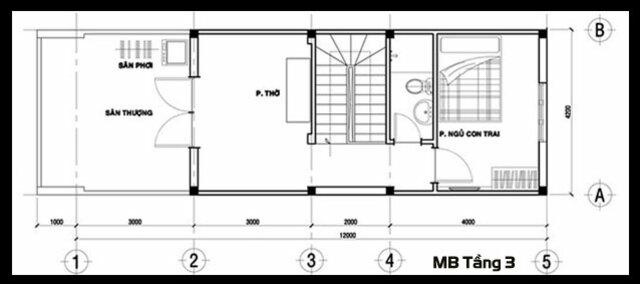 Bản vẽ thiết kế mẫu nhà ống đẹp 3 tầng mặt tiền 4m 3