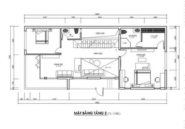 mẫu nhà 2 tầng 1 tum mặt tiền 8m 2