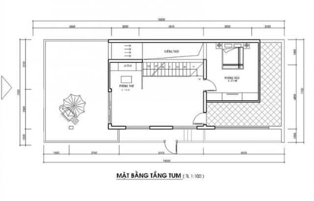 mẫu nhà 2 tầng 1 tum mặt tiền 8m 3