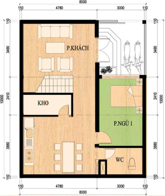 Mẫu nhà 2 tầng mặt tiền 8m 4 phòng ngủ 1