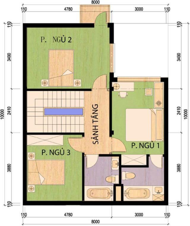 Mẫu nhà 2 tầng mặt tiền 8m 4 phòng ngủ 2