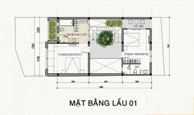 mẫu nhà 2 tầng mặt tiền 8m đơn giản1