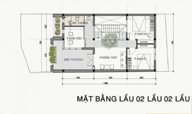 mẫu nhà 2 tầng mặt tiền 8m đơn giản2
