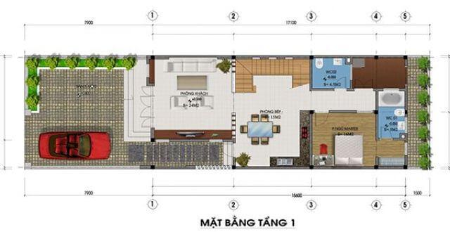 mẫu nhà 2 tầng mặt tiền 8m mái chéo 1