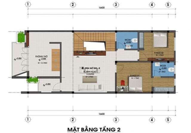 mẫu nhà 2 tầng mặt tiền 8m mái chéo 2
