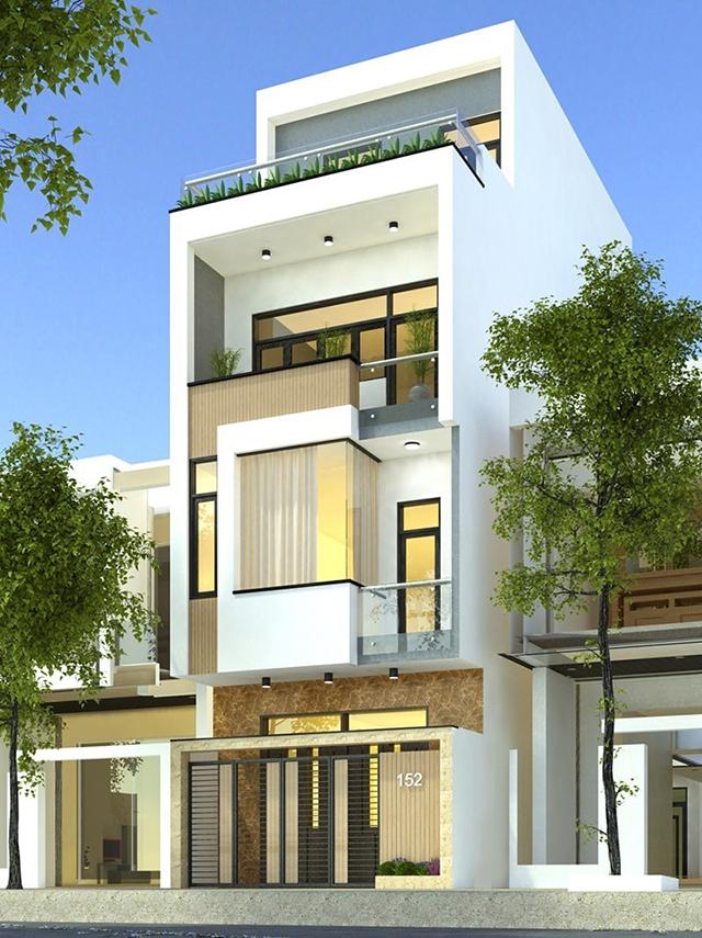 thiết kế nhà phố 4 tầng mặt tiền 5m 1