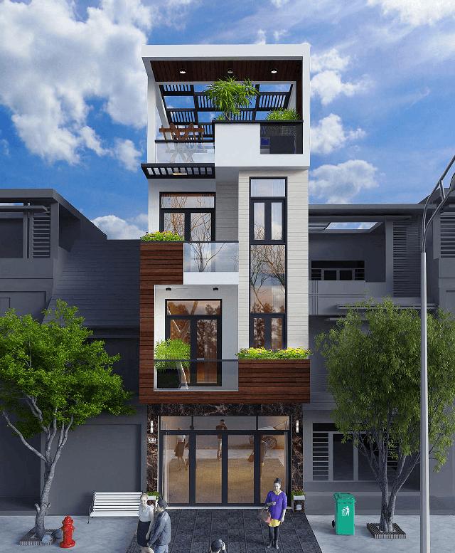 thiết kế nhà phố 4 tầng mặt tiền 5m 10