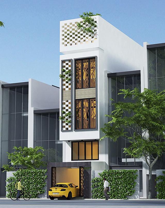 thiết kế nhà phố 4 tầng mặt tiền 5m 2