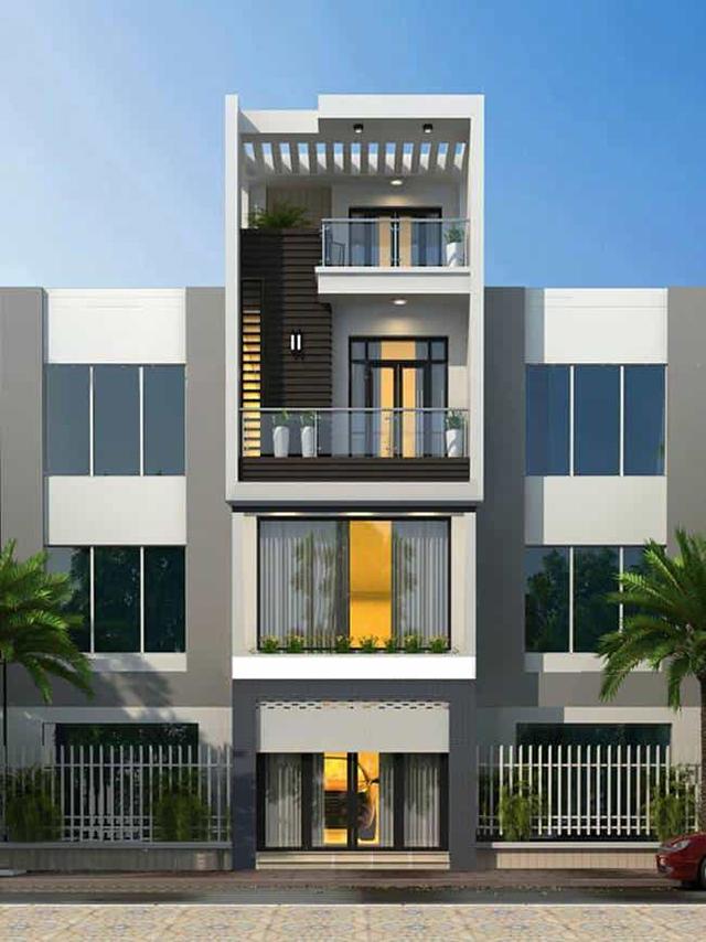 thiết kế nhà phố 4 tầng mặt tiền 5m 3