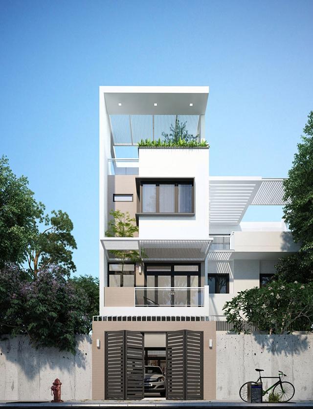 thiết kế nhà phố 4 tầng mặt tiền 5m 5