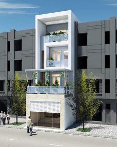 thiết kế nhà phố 4 tầng mặt tiền 5m 7