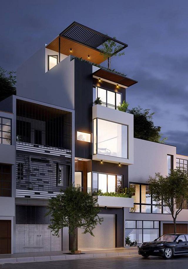 thiết kế nhà phố 4 tầng mặt tiền 5m 9