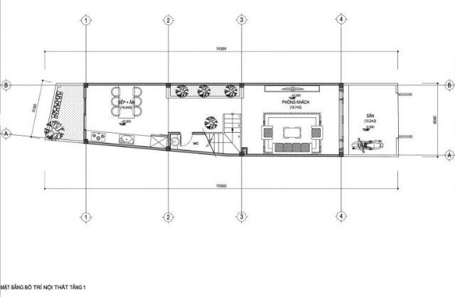 Mặt bằng tầng 1 nhà 30m2 xây 3 tầng