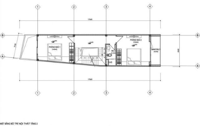 Mặt bằng tầng 2 nhà 30m2 xây 3 tầng