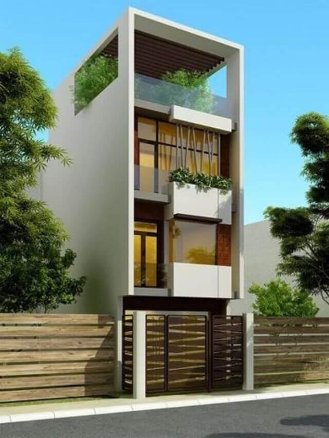 Mẫu thiết kế nhà 4 tầng có hình khối đơn giản, màu sắc nhẹ nhàng, chi tiết hài hòa.
