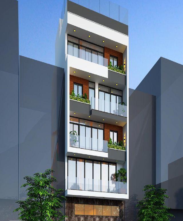 Mẫu thiết kế nhà phố 5 tầng mặt tiền 8m hiện đại, thoáng mát tại Hải Phòng