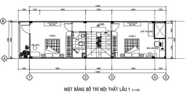 Bản vẽ công năng tầng một nhà phố 3 tầng 4x16m