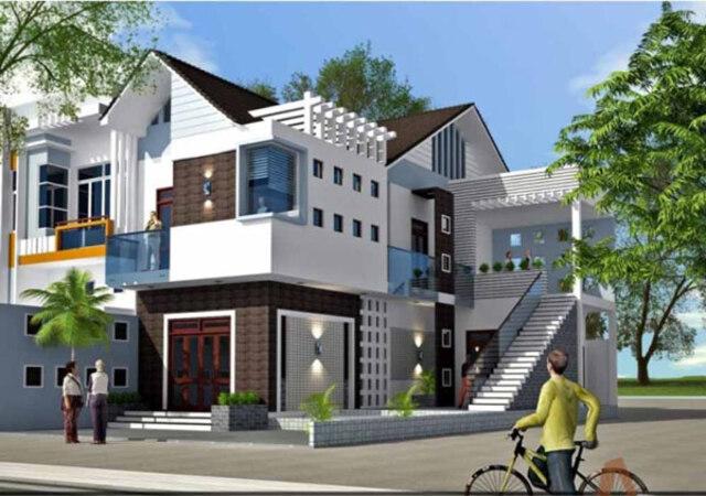 Nhà mái lệch 2 tầng 1